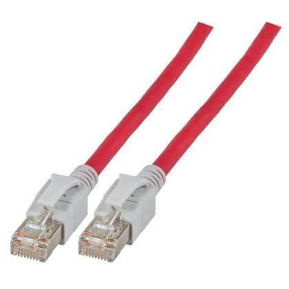 Patchkabel Cat.6a VC LED S/FTP LSZH Cat.7 Rohkabel RJ45 PiMF 10GB rot 3m