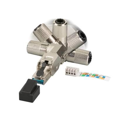 Feldkonfektionierbarer Stecker RJ45 Cat6A Cat7 AWG22-27 geschirmt gewinkelt werkzeuglos
