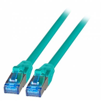 Patchkabel Cat.6A S/FTP TPE superflex mit Cat.7 Rohkabel 10GB grün 0,15m