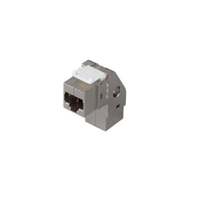 Keystone Einbauadapter Verbinder Kupplung Cat.6A 90° gewinkelt 2xRJ45 Buchse 1:1 geschirmt Metallgehäuse