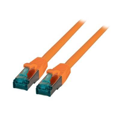 Patchkabel Cat.6A S/FTP LSZH DSL Ethernet TV Netzwerk LAN 10GB orange 0,25m