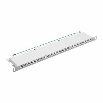 "19"" Patchpanel Cat.6A 500MHz 24-Port 0,5HE RJ45 geschirmt grau 10GB ProfiPatch"