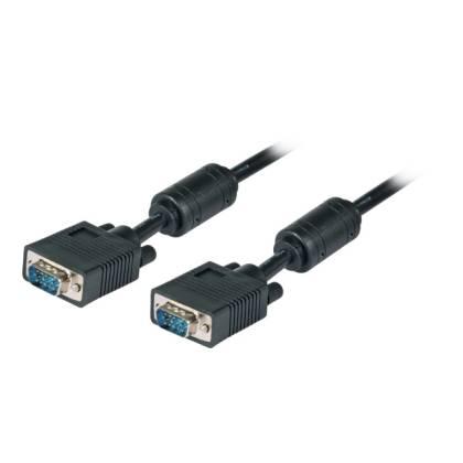 SVGA/HDTV Anschlusskabel mit Ferritkernen 2x HD-D-Sub 15-polig Stecker-Stecker schwarz 5m