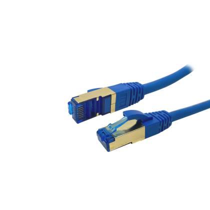 ProfiPatch Patchkabel Cat.6A S/FTP RJ45 mit Cat.7 Rohkabel PiMF LSZH 10GB blau 0,25m
