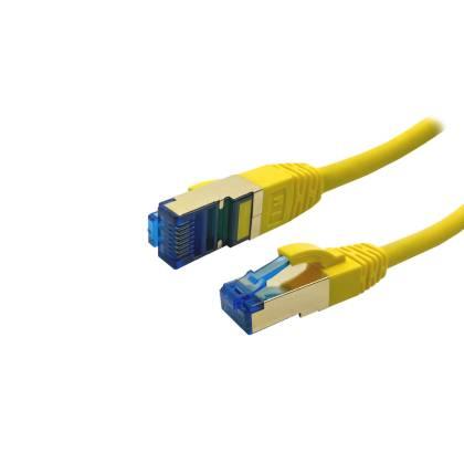 ProfiPatch Patchkabel Cat.6A S/FTP RJ45 mit Cat.7 Rohkabel PiMF LSZH 10GB gelb 0,25m