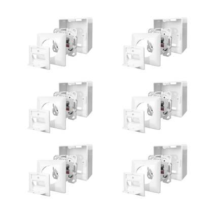 6x Netzwerkdose Cat.6A 500MHz 2-Port geschirmt weiß Kombidose [Aufputz + Unterputz]