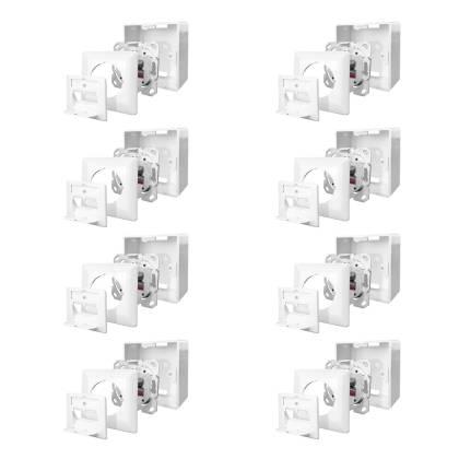 8x Netzwerkdose Cat.6A 500MHz 2-Port geschirmt weiß Kombidose [Aufputz + Unterputz]