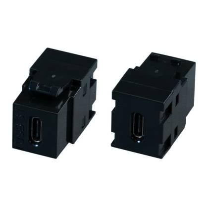 USB3.1 Keystone Einbauadapter C Buchse auf C Buchse schwarz 10Gbit/s 60 Watt