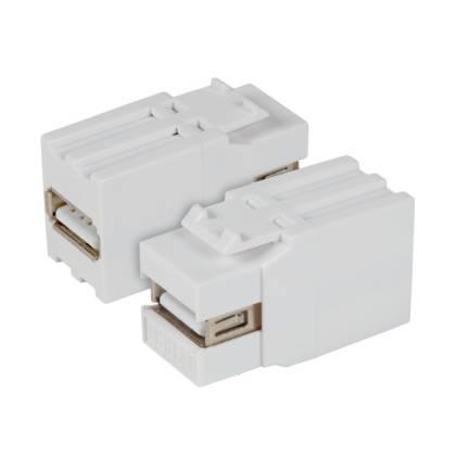 USB2.0 Keystone Einbauadapter A Buchse auf A Buchse weiß