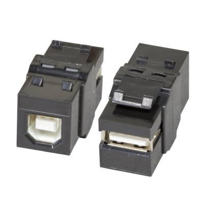 USB2.0 Keystone Einbauadapter A Buchse auf B Buchse schwarz